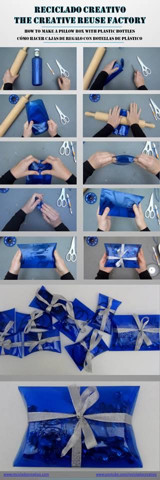 Cómo hacer cajas de regalo con botellas de plástico - how to make gift boxes out of recycled plastic bottles