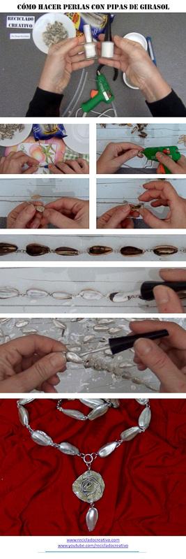 984db558346e Cómo hacer un collar con pipas de girasol - RECICLADO CREATIVO por ...