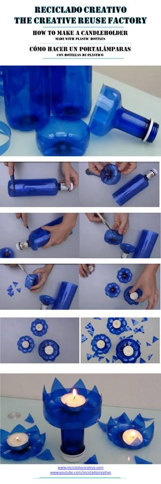 Cómo hacer un portavelas con botellas de plástico de Solán de Cabras - how to make a candle holder out of a recycled plastic bottle
