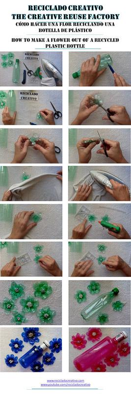 como hacer una flor con una botella pet y una plancha de ropa