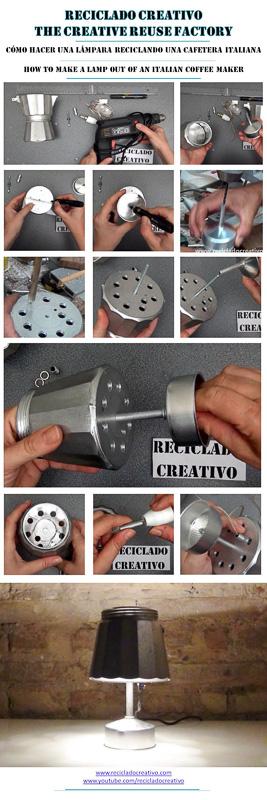 Cómo realizar una lámpara decorativa con una cafetera italiana How to make a lamp out of a Bialetti coffee maker