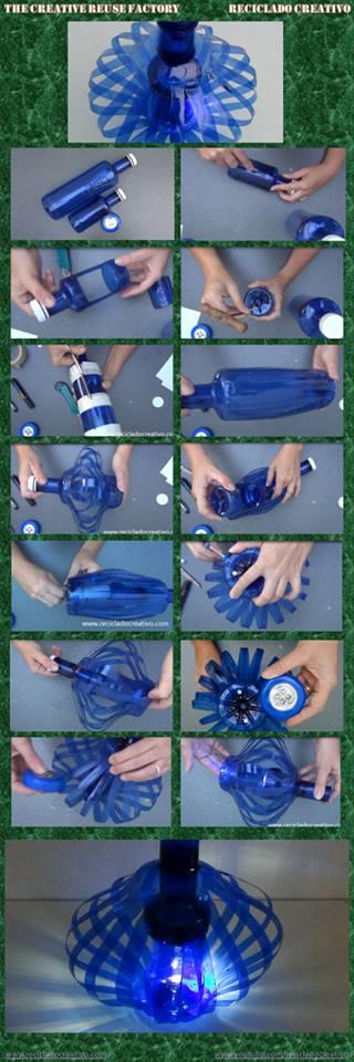 Lámpara realizada con dos botellas de plástico