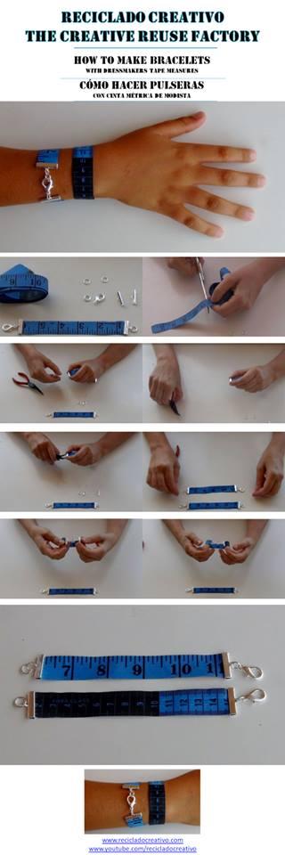 Cómo hacer una pulsera con una cinta métrica de modista