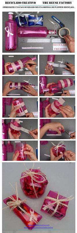 Como hacer unacaja bombonera con la base de una botella de plástico reciclada