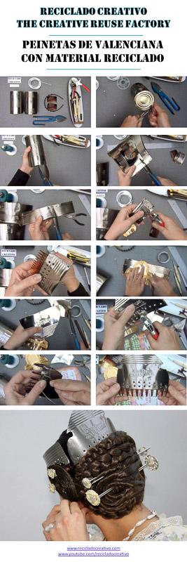 Cómo realizar peinetas de valenciana con material reciclado