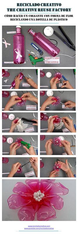 Como realizar un colgante con forma de flor reciclando una botella de plastico #gotasdesolidaridad de solandecabras recicladocreativo rosa montesa