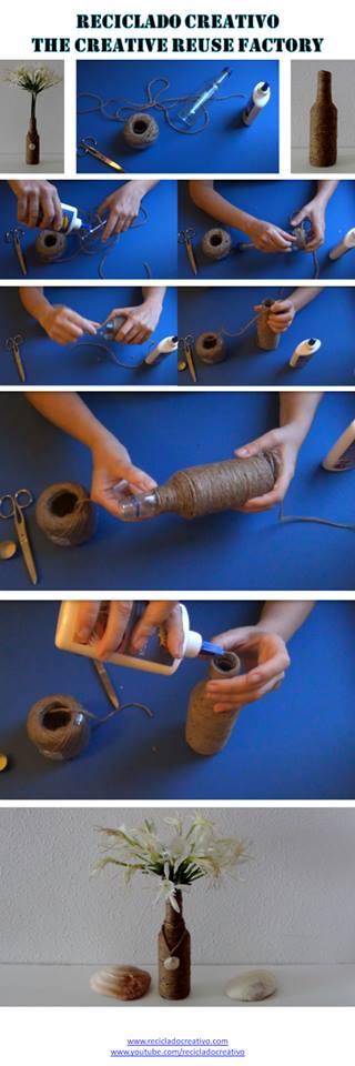 Cómo reutilizar una botella de cristal, forrada con cuerda