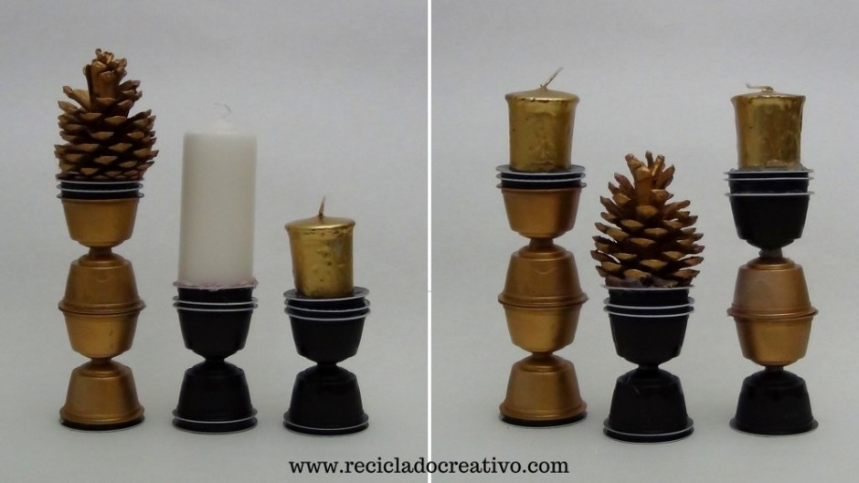 Portavelas ´Candelabros decorativos con cápsulas de café