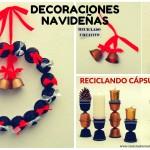 Decoraciones navideñas con cápsulas de café Dolce Gusto Una corona, un centro de mesa, unas campanillas, decoraciones para el árbol, portavelas y candelabros.