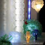 Exposición de lámparas realizadas con material reciclado. Reciclado Creativo. CoworkingValencia. Rosa Montesa