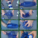 Lámpara realizada con dos botellas de plástico pet de color azul