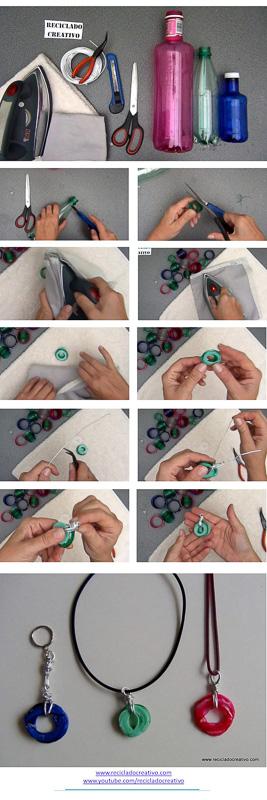 Cómo realizaar un colgante con el cuello, la rosca, de una botella de plástico