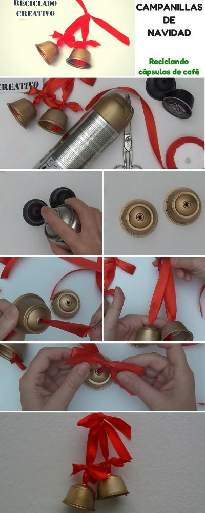 Cómo hacer unas campanillas navideñas reciclando cápsulas de café