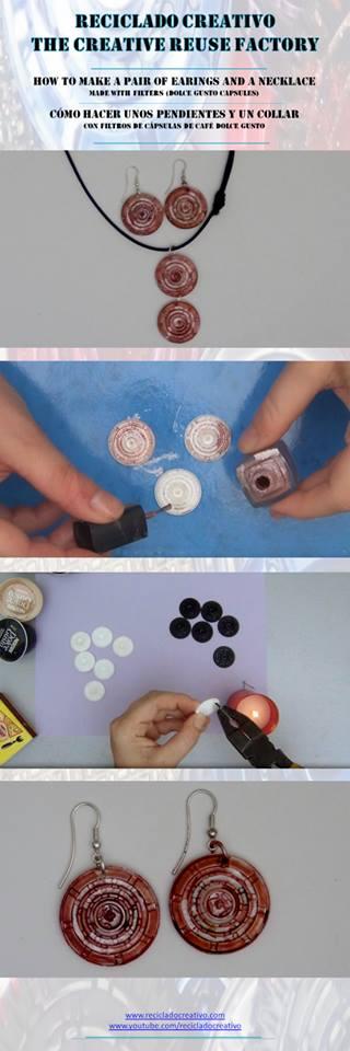 Infographic cómo hacer pendientes con cápsulas de café Dolce Gusto