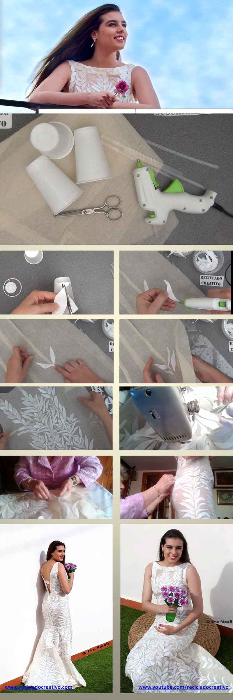 Cómo hacer un vestido de novia con vasos de usar y tirar