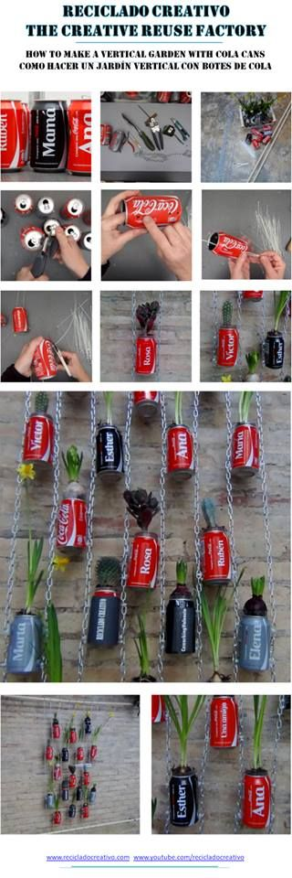Jardín vertical realizado con botes de cocacola - Vertical Garden made with recycled cocacola cans