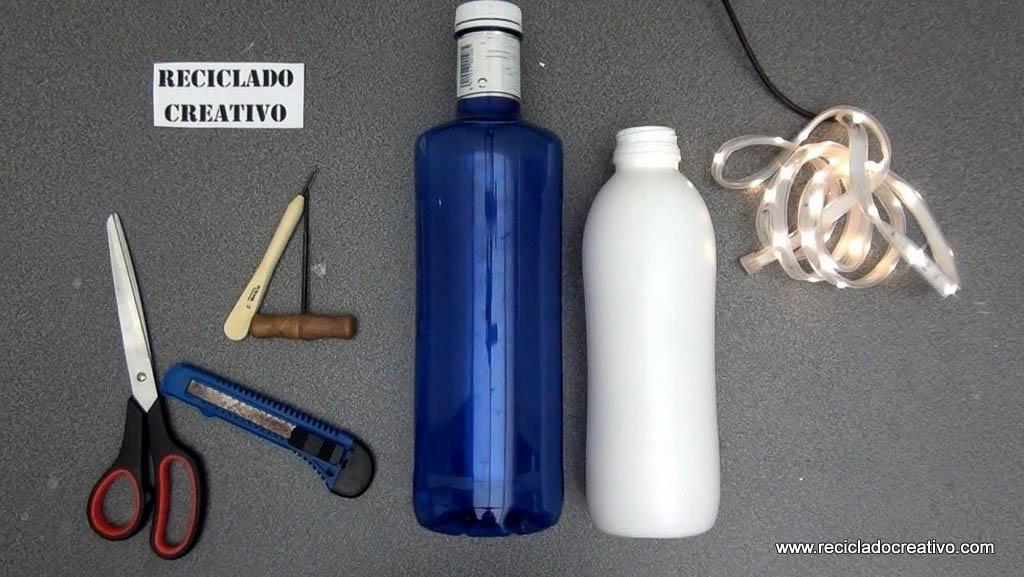 lmpara de sobremesa con botellas de plstico recicladas y leds