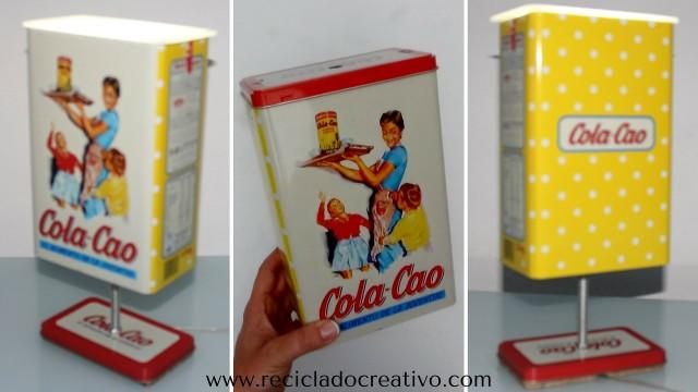 Lámpara DIY con una caja de hojalata de ColaCao