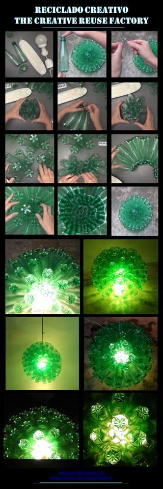 Cómo hacer una lámpara con 125 botellas pet recicladas