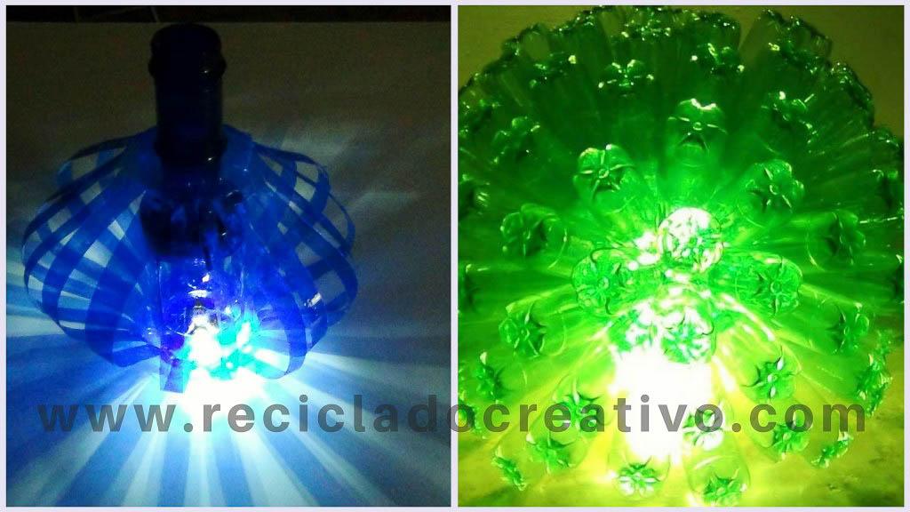 lámparas con botellas de plástico recicladas
