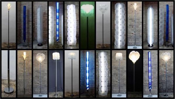 lámparas realizadas con botellas recicladas y pie de lámpara con un palo de escoba