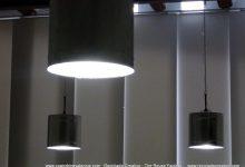 Lámparas realizadas con botes de metal reciclados. Lamps made with metal cans