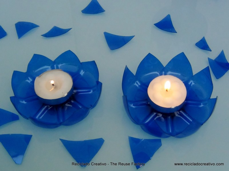 portavelas con botellas de plástico - candle holder with recycled plastic bottles