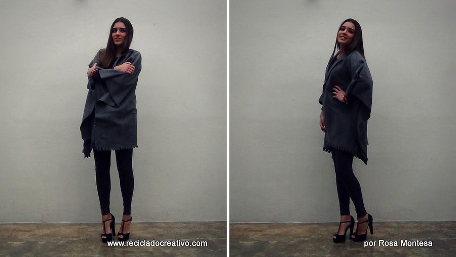 DIY Abrigo manta sin coser - Blanket coat no sew Por RecicladoCreativo.com