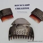 Peinetas de Fallera Valenciana realizadas con botes de hojalata reciclados