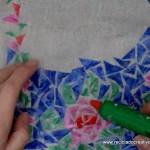 Corpiño de traje de fallera valenciana #ecofallera realizado con trencadís sobre tela