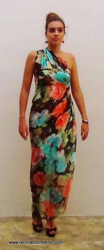 Cómo realizar un vestido de seda sin coser - How to make a silk dress stitch free